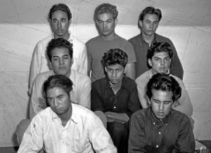 Eight suspects brought in for questioning. Photo: Special Collections, UCLA Library